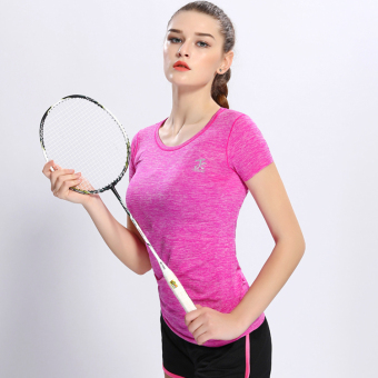 Female Slim fit running fitness clothing yoga clothes Sports Short sleeved t-shirt (Rose color) (Rose color)