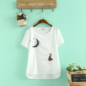 Female Slim fit Top white short sleeved t-shirt (YL?girl) (YL?girl)