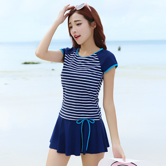 Female split slimming boxer swimsuit (Dark blue color striped)