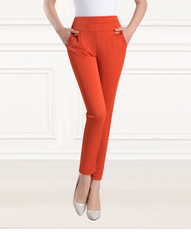 Female spring and middle-aged pants ankle-length pants (Orange)