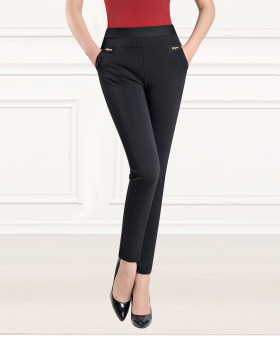 Female spring and middle-aged pants ankle-length pants (TENGA black)