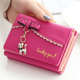 Female Student three fold multi-functional wallet New style wallet (Rose color)