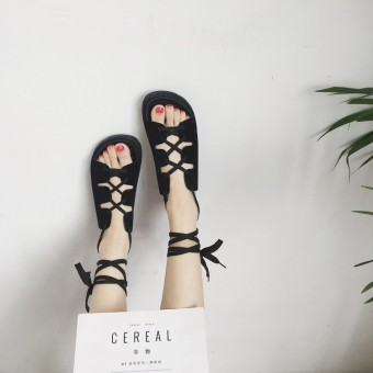 Female Summer flat non-slip gladiator sandals Korean-style sandals