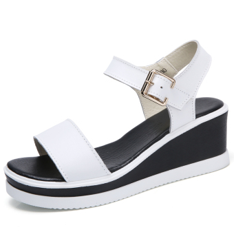 Female Summer New style muffin Korean-style shoes sandals (White)