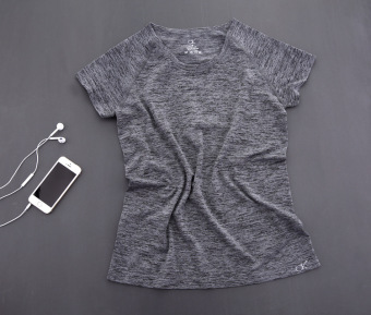 Female Summer Sports Short sleeved t-shirt quick drying clothes (Gray) (Gray)