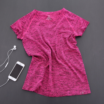 Female Summer Sports Short sleeved t-shirt quick drying clothes (Rose) (Rose)