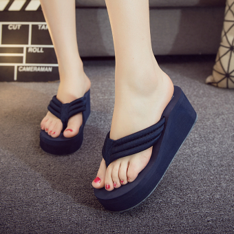 Female thick bottomed non-slip flip-flop slippers flip-flops (Dark blue color)
