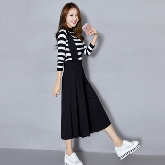 Female thin high-waisted student Capri pants strap wide leg pants (6413 single black Capri wide leg dress) Price Philippines