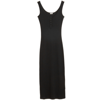 Female underwear Slim fit mid-length vest dress Korean-style strap (Black)
