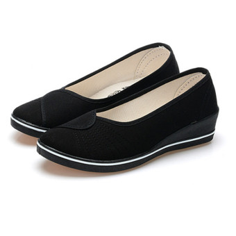 Female with slope Comfortable Soft Work shoes Beauty Dance Canvas shoes Black - Intl - 2