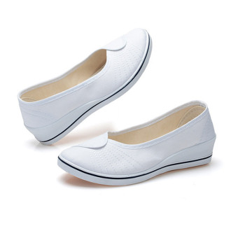 Female with slope Comfortable Soft Work shoes Beauty Dance Canvasshoes White - Intl - 3