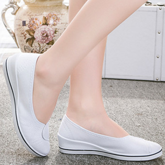 Female with slope Comfortable Soft Work shoes Beauty Dance Canvasshoes White - Intl - 5