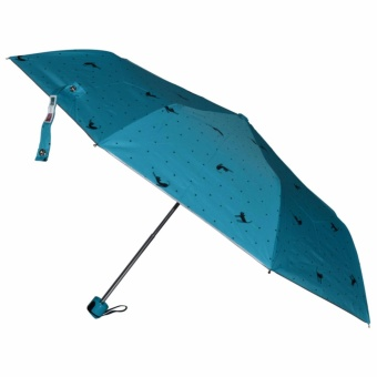Fibrella Umbrella F00412 with UV Block Plus (Turquoise With Cat & Dots Design)