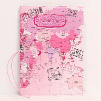 Fine Shishang PVC documents protective case passport folder (Pink Map)