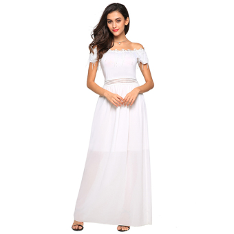 Finejo Women Sexy Strapless Off Shoulder Short Sleeve Lace Fringe Patchwork Solid Maxi Long Dress ( White ) - intl