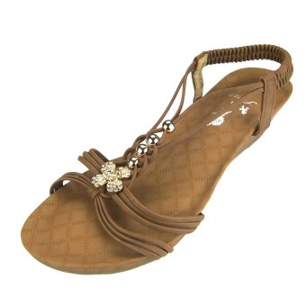 First Wedge Platform Heel Thong Sandals with Clover Design (Brown) - picture 2