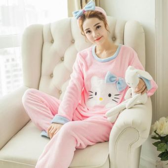 Flannel women home clothing coral velvet pajamas (Powder KT cat)