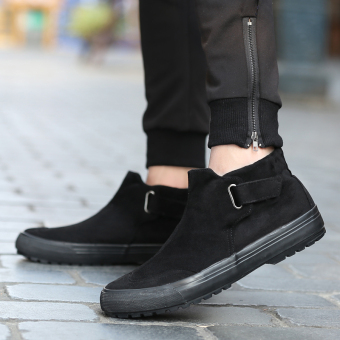 Flash step winter New style men hight-top plain weave shoes (Black)