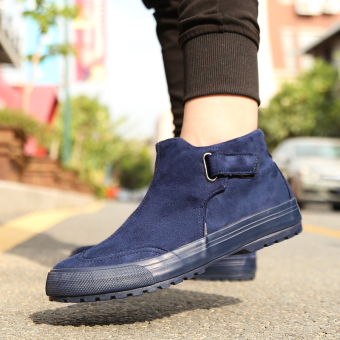 Flash step winter New style men hight-top plain weave shoes (Dark blue color)