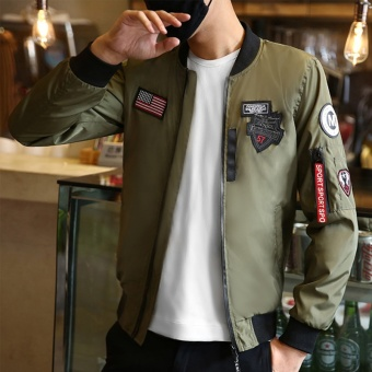Flight Bomber Jacket for Men Army Windbreaker Air Force Flying 2017Autumn New Pilot Korean Teenager Fashion Jacket - intl