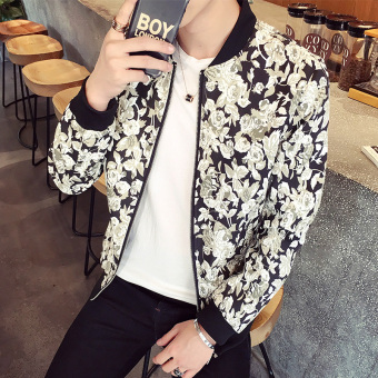 Floral Korean-style Slim fit autumn New style thin jacket baseball clothes (J1021 black)
