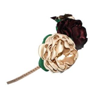 Flower Crown Handmade Headband (Bronze/Burgundy/Oatmeal) - picture 2