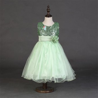 Flower Girl Kids Baby Xmas Bridesmaid Party Formal Sequin Ball GownDress 2-10Y(Green) - intl - 3