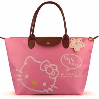 Foldable Waterproof Tote Bag Pink Casual Bag Office Bag School BagShopping Bag Shoulder Bag