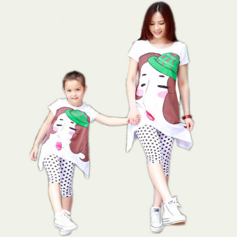 (For Mother and Daughter) Spring Mother and Daughter MatchingShort-sleeved Dress and Wave Point Leggings Suit Family Clothing(Hat Pattern) - intl