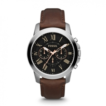 Fossil Grant Men's Brown Leather Strap Watch FS4813