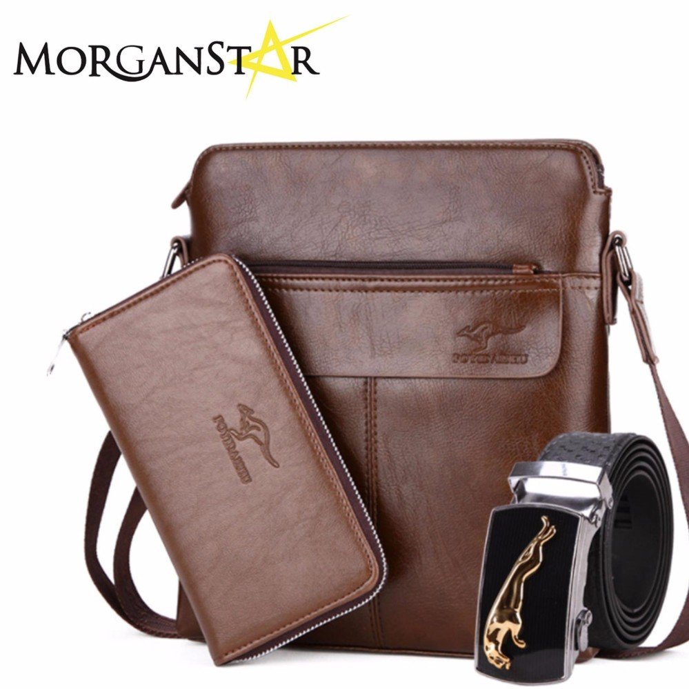 Foyidaishu Kangaroo Man 3-in-1 Leather Bag for Men (Light Brown) Philippines