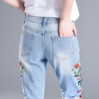 FP embroidered jeans, women's nine point pants, skinny, curling,embroidered little feet, pencil pants - intl - 2