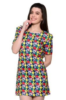 French Dolls Casual Printed with Sleeves Vel Dress (Royal Blue)