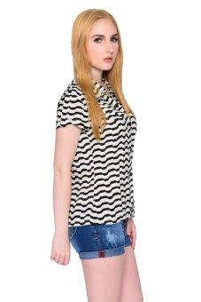 Freshgear Girls Stripes Short Sleeve Shirt (Caviar) - 2
