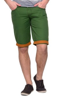 Freshgear Skater Super Low Skinny Prep Non-Denim Shorts (FernGreen)