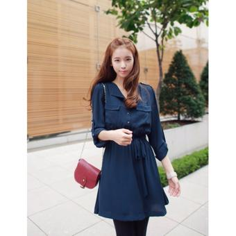 Front Pockets Design Collared Long Sleeve Chiffon Blue Casual Dress - 2