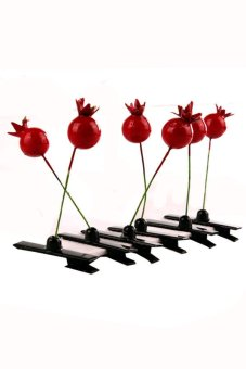 Fruits grenade Hair Clip Set of 6 (Red)