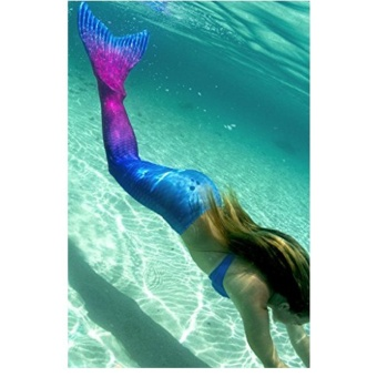 Fshion Ladies Mermaid Swimming Suit Girls Cute Mermaid Tail Beach Swimwear - Rose Blue - intl - 3