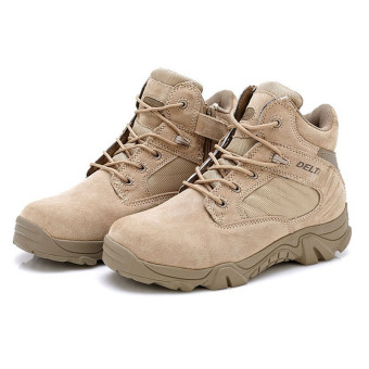 FSW Men's Desert Military Combat Boot Waterproof hiking boots Ankle boots - khaki - Intl