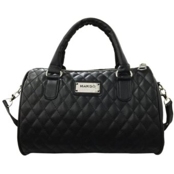 Fudun Mango Quilted Bowling Cross Body Leather Hand Bag (Black) - intl