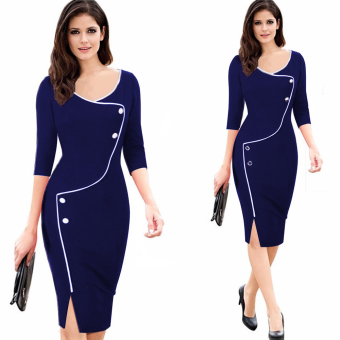 Gamiss Women Deep O-neck Split Bodycon Dress (Blue) - intl