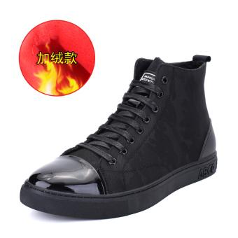 Gao Bang winter trendy shoes men's shoes (Black Plus Velvet)