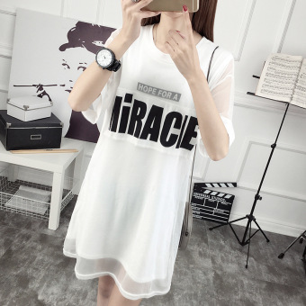 Gauze New style letter Print two piece suit Dungaree dress (White)