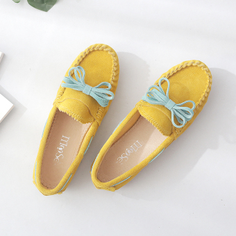 Genuine leather female Spring and Autumn breathable shoes Shoes (Lemon Yellow)