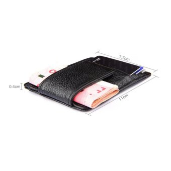 Genuine Leather Money Clip Front Pocket Wallet with Magnet Clip andCard Id Case Coffee - intl - 3