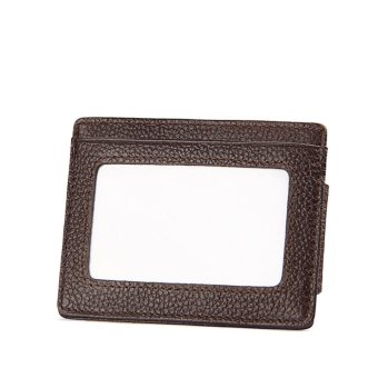 Genuine Leather Money Clip Front Pocket Wallet with Magnet Clip andCard Id Case Coffee - intl - 2