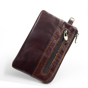 Genuine Leather Slim Wallet Coin Purses for Men Small Women ZipperSmall Wallet Men Real Cowhide Leather Men Brown