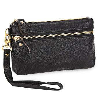 Genuine Leather Solid Color Wrist Bag Coin Purse for Women (Black)- intl