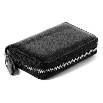 Genuine Real Leather Credit ID Business Card Holder Pocket Wallet With Removable Zipper Pocket Black MT280-SZ