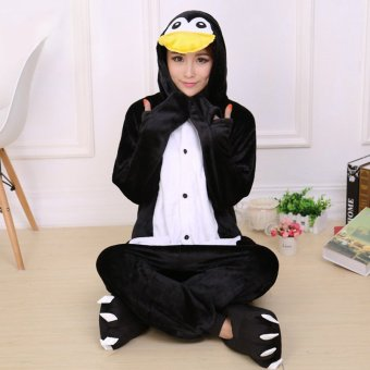 GETEK Penguin Adult Unisex Pajamas Cosplay Costume Onesie SleepwearS-XL (Black)
